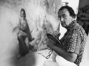 Salvador DALI in Cadaques. 19700000 Salvador DALI, à Cadaqués. 19700000
