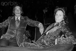 20 Apr 1972, Paris, France --- Spanish surrealist painter Salvador Dali with his wife Russian model Gala, born Helena Dmitrievna Delouvina Diakonova. --- Image by © Marc Simon/Apis/Sygma/Corbis